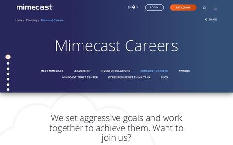 Screenshot of Jobs Page mimecast.com - Careers and Job Openings   Mimecast - captured Jan. 30, 2019