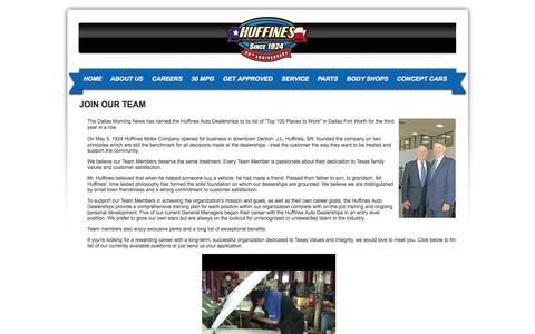 Screenshot of Jobs Page huffines.net - Chevrolet, Chrysler, Dodge, Hyundai, Jeep, Kia, RAM, Subaru Lewisville | Automotive Dealership Careers & Jobs at Huffines Auto Dealerships - captured Oct. 6, 2014