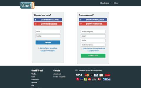 Screenshot of Login Page guichevirtual.com.br - Passagem de ônibus pela internet | Guichê Virtual - captured Aug. 31, 2016