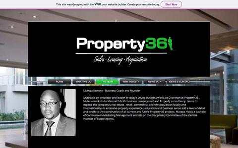 Screenshot of Team Page property36.net - Mutepa Kamoto | Property Sales and Lettings | Property 36 | Zambia - captured July 24, 2018