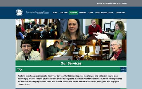 Screenshot of Services Page fsv-cpas.com - Our Services | Fothergill Segale and Valley - captured Feb. 10, 2016
