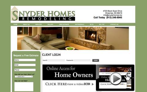 Screenshot of Login Page snyderhomes.biz - Snyder Homes - captured Oct. 8, 2014