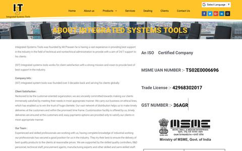 Screenshot of About Page integratedsystemstools.com - About us - Integrated Systems Tools - captured July 25, 2018