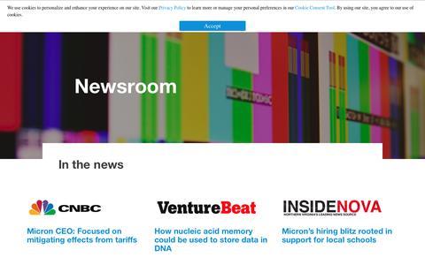Screenshot of Press Page micron.com - Newsroom - captured Dec. 6, 2018
