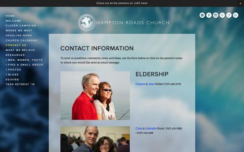 Screenshot of Contact Page hamptonroadschurch.com - Contact Us Ń HAMPTON ROADS CHURCH - captured Dec. 7, 2015