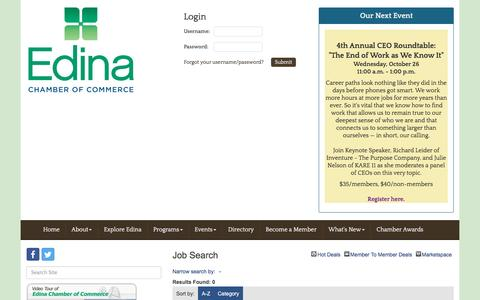 Screenshot of Jobs Page edinachamber.com - Job Search - Edina Chamber of Commerce, MN - captured Oct. 26, 2016