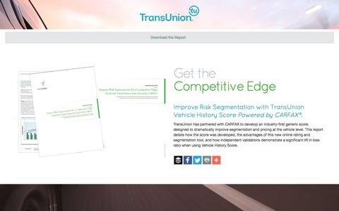 Screenshot of Landing Page transunion.com - TransUnion Vehicle History Report - captured Oct. 30, 2016