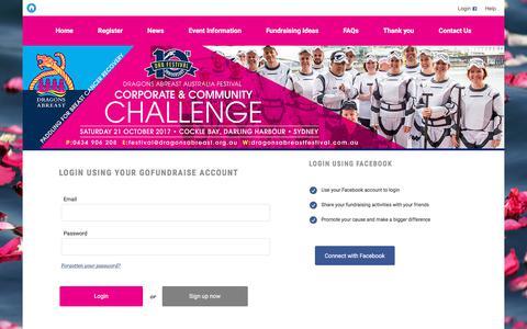 Screenshot of Login Page gofundraise.com.au - GoFundraise | Log On - captured Jan. 29, 2018