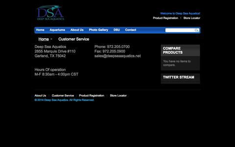 Screenshot of Support Page deepseaaquatics.net - Customer Service - captured Oct. 5, 2014