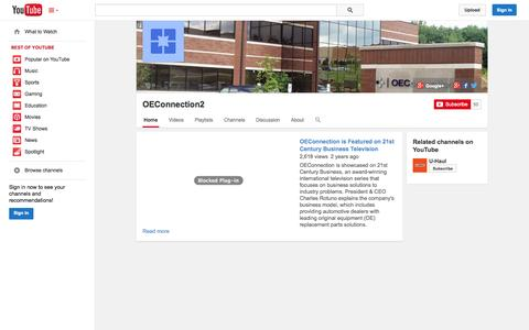Screenshot of YouTube Page youtube.com - OEConnection2  - YouTube - captured Nov. 3, 2014