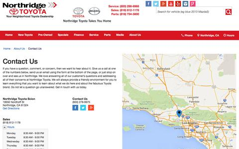 Screenshot of Contact Page Hours Page northridgetoyota.com - Contact Northridge Toyota in Northridge California - captured March 11, 2016
