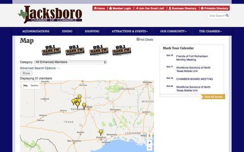 Screenshot of Maps & Directions Page jacksborochamber.com - Map - Jacksboro Chamber of Commerce, TX - captured Oct. 16, 2017