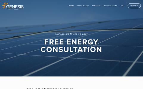 Screenshot of Contact Page genesisca.com - Contact Genesis - Quotes on Solar Powered Energy Solutions — Genesis Energy Solutions - captured Jan. 27, 2016