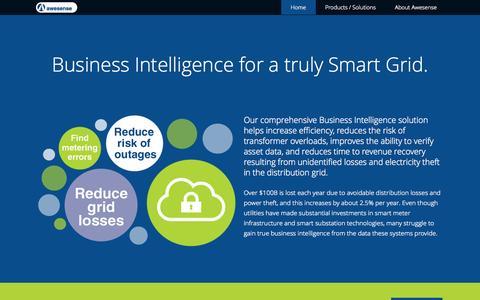 Screenshot of Home Page awesense.com - Awesense — Intelligence for a Smarter Grid - captured Oct. 4, 2014