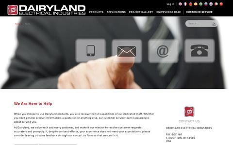 Screenshot of Support Page dairyland.com - Dairyland - Solid State Decouplers - Customer Service: We Are Here to Help | Call 608-877-9900 - captured Oct. 7, 2018