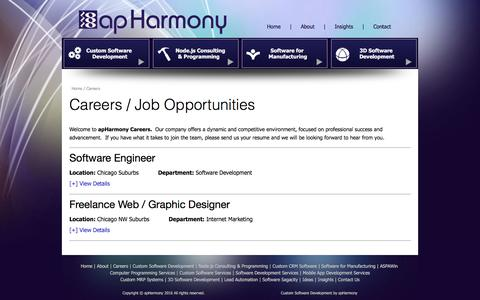 Screenshot of Jobs Page apharmony.com - Computer Programmers chicago - Chicago Programming Jobs - Careers - captured Nov. 10, 2016