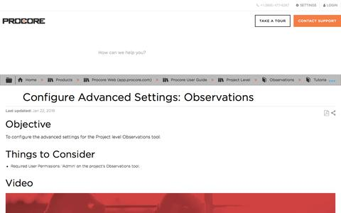 Configure Advanced Settings: Observations - Procore