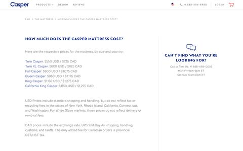 Screenshot of Pricing Page casper.com - How much does the Casper mattress cost?  | Casper® - captured April 2, 2017