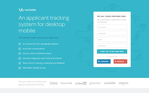 Screenshot of Landing Page workable.com - Workable: Applicant Tracking System that helps you find and hire the right people - captured May 20, 2016