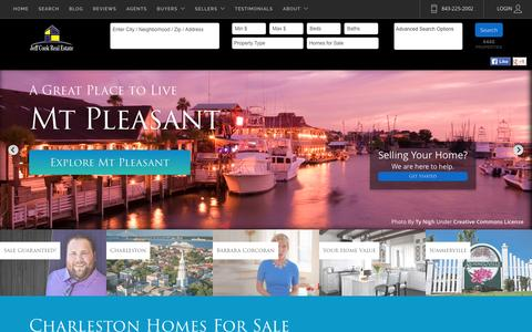 Screenshot of Home Page jeffcookrealestate.com - Charleston SC Homes For Sale and Real Estate - captured Aug. 7, 2016