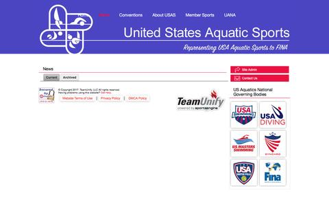 Screenshot of Press Page teamunify.com - United States Aquatic Sports : News - captured March 31, 2017