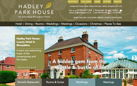 Screenshot of Home Page hadleypark.co.uk - Hadley Park House - Hotel & Restaurant in Telford, Shropshire, - captured Oct. 1, 2014