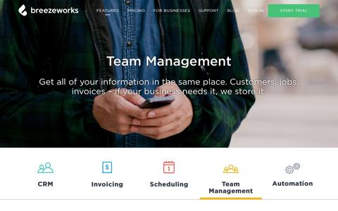 Screenshot of Team Page breezeworks.com - Breezeworks Team Management Software - captured Feb. 1, 2017