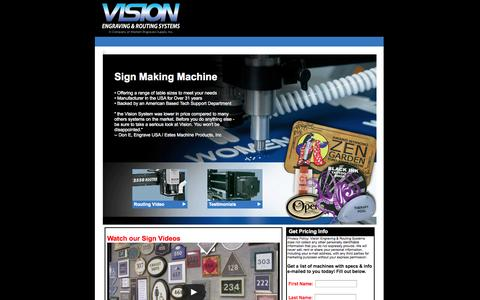 Screenshot of Landing Page visionengravers.com - Sign Making Machine   Sign Machine   Vision Engraving and Routing Systems - captured Oct. 27, 2014