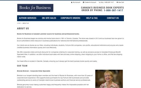 Screenshot of About Page booksforbusiness.com - About Books For Business - captured Feb. 8, 2016