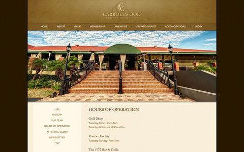 Screenshot of Hours Page carrollwoodcc.com - Hours of Operation - Carrollwood Country Club - captured Oct. 2, 2014