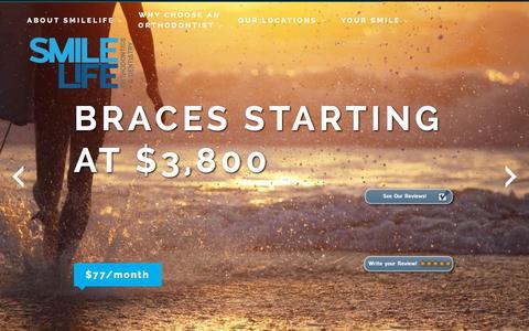 Screenshot of Home Page smilelifebraces.com - SmileLife Braces - captured Sept. 26, 2015