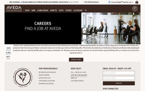 Screenshot of Jobs Page aveda.com - Careers - Landing page   Aveda - captured Jan. 29, 2018