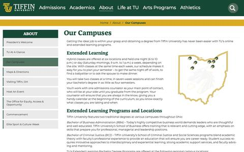 Screenshot of Locations Page tiffin.edu - Our Campuses | Tiffin University - captured Nov. 10, 2018