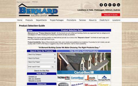 Screenshot of Products Page bernardbuilding.com - Product Selection Guide - captured Nov. 22, 2016