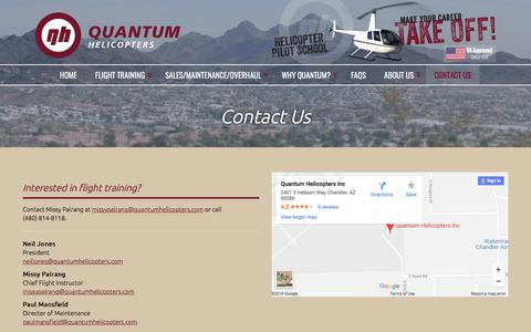 Screenshot of Contact Page quantumhelicopters.com - Contact Us | Quantum Helicopters - captured July 22, 2018