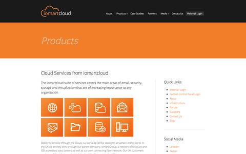 Screenshot of Products Page iomartcloud.com - iomartcloud | Products and Services | Global Cloud Solutions - captured Oct. 31, 2014