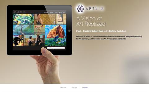 Screenshot of Home Page artvis.info - ARTVIS - iPad application for Art Professionals - captured Sept. 30, 2014