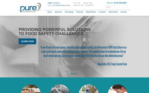 Screenshot of Home Page purebio.com - PURE Bioscience - captured Feb. 1, 2016