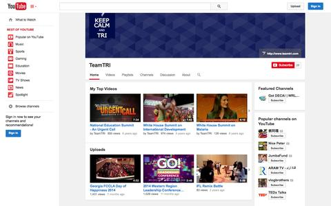 Screenshot of YouTube Page youtube.com - TeamTRI  - YouTube - captured Nov. 5, 2014
