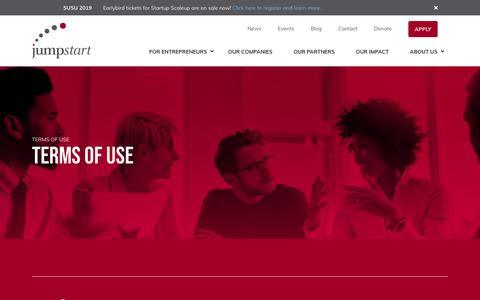 Screenshot of Terms Page jumpstartinc.org - Terms & Conditions   JumpStart Inc. - captured April 19, 2019
