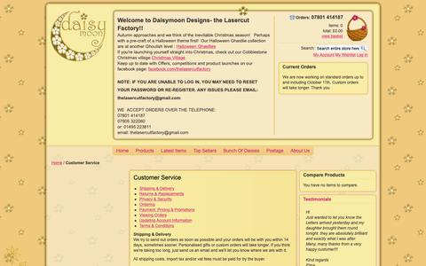 Screenshot of Support Page daisymoondesigns.co.uk - Customer Service - Daisymoon Designs - captured Oct. 24, 2018
