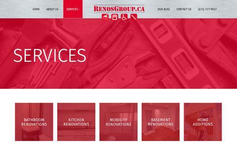 Screenshot of Services Page renosgroup.ca - Services | RenosGroup.ca - captured Feb. 26, 2016