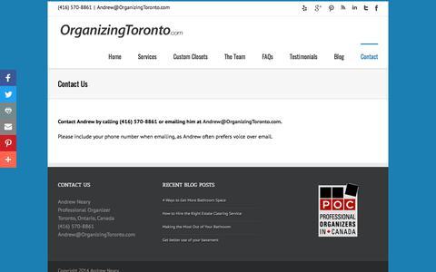 Screenshot of Contact Page organizingtoronto.com - Contact Andrew Neary & OrganizingToronto | OrganizingToronto.com - captured Oct. 21, 2017