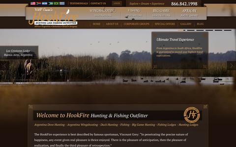 Screenshot of Home Page hookfire.com - Argentina Dove Hunting - Argentina Fishing - Argentina Duck Hunting - Big Game Hunting - Fishing Lodges - Hunting Lodges | Hookfire - captured Oct. 3, 2014