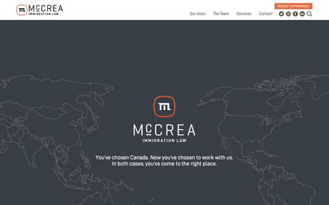 Screenshot of Home Page mccrealaw.ca - McCrea Immigration Law | Lawyers in Vancouver, BC, Canada - captured Dec. 13, 2018