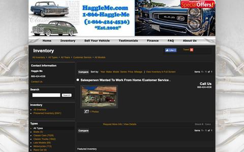 Screenshot of Support Page haggleme.com - Customer Service - Inventory -  Haggle Me - captured Oct. 21, 2018