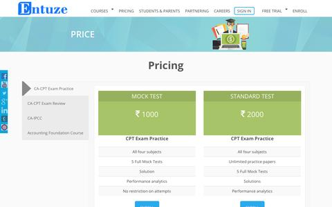 Screenshot of Pricing Page entuze.com - Pricing | CPT Online Classes, CPT Mock Test Online Free, CA CPT Coaching - captured Nov. 8, 2016