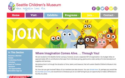 Screenshot of Signup Page thechildrensmuseum.org - Join - Seattle Children's Museum - captured Feb. 13, 2016