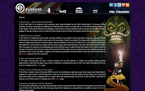 Screenshot of FAQ Page exitearth.com - Exit Earth Entertainment   » FAQ - captured Oct. 3, 2014