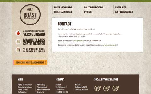 Screenshot of Contact Page roast.nl - Contact - Roast - captured Sept. 21, 2018